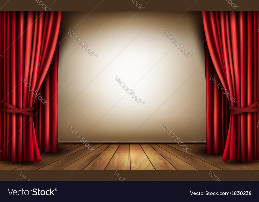 Background with red velvet curtain and a wooden vector | Price: 1 Credit (USD $1)