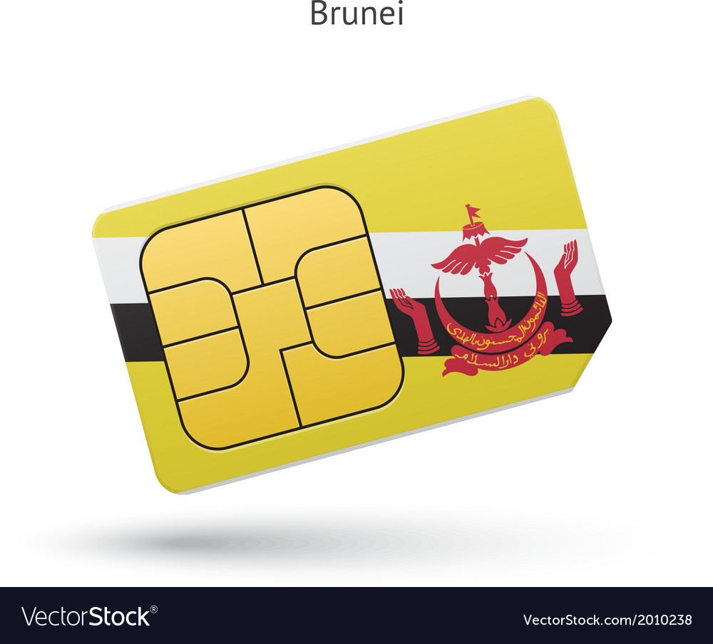 Brunei mobile phone sim card with flag vector | Price: 1 Credit (USD $1)