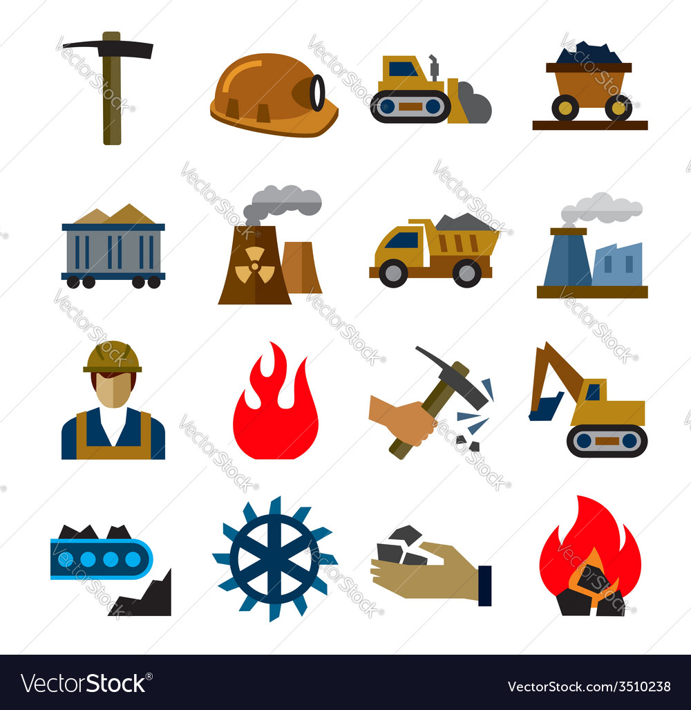 Coal mining industry icons vector   Price: 1 Credit (USD $1)