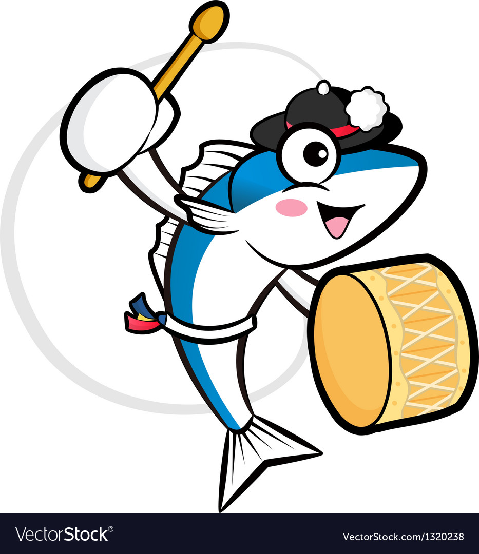 Fish mascot playing the traditional music of korea vector | Price: 1 Credit (USD $1)