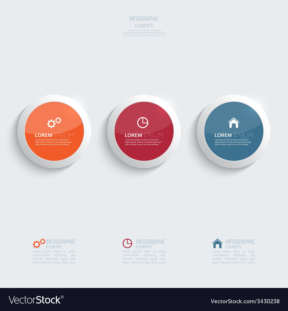 Glossy colorful plastic buttons for infographic vector   Price: 1 Credit (USD $1)