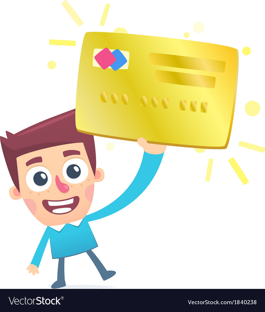 Happy owner of a gold plastic card vector | Price: 1 Credit (USD $1)