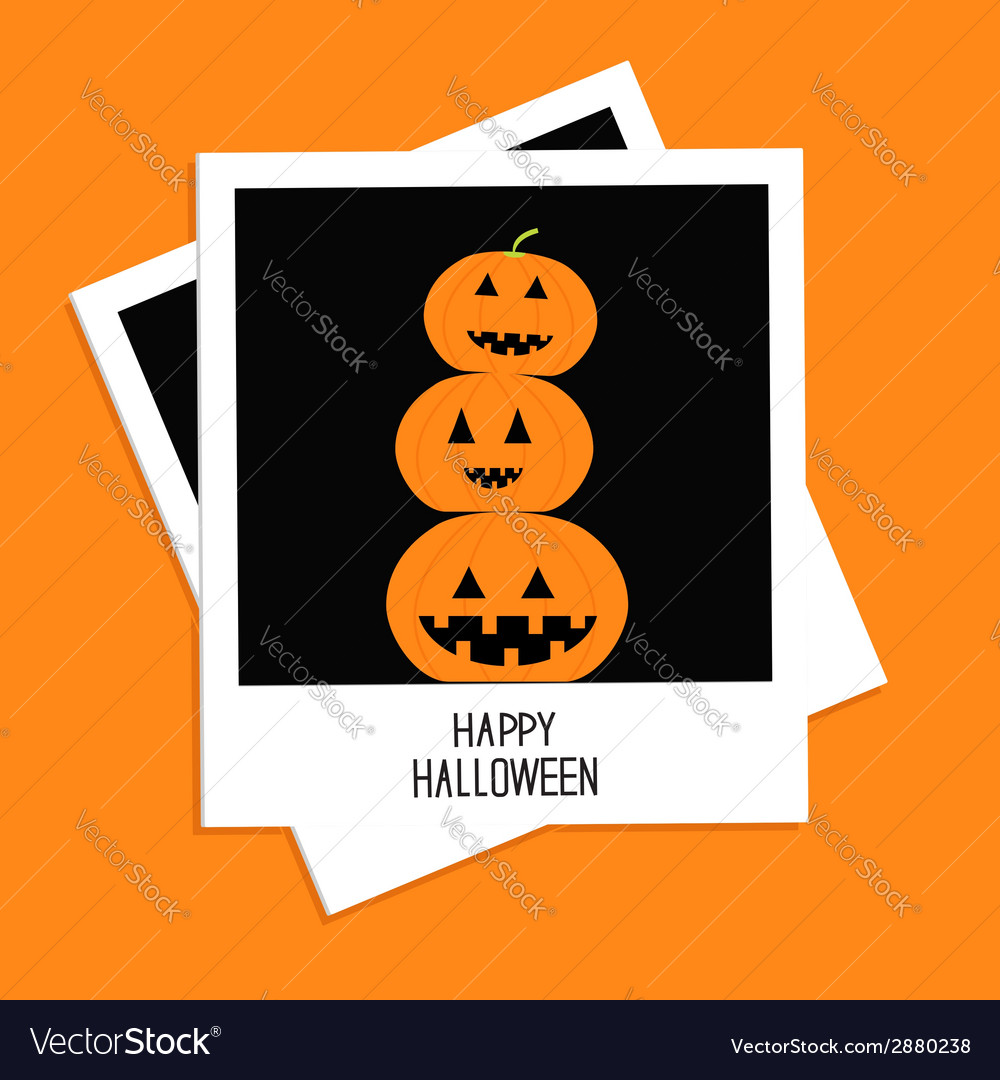 Instant photo with three funny pumpkins halloween vector