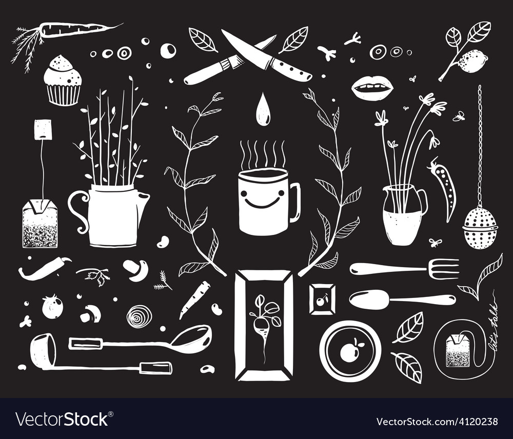 Kitchen food and drinking tea cosy design elements vector | Price: 1 Credit (USD $1)