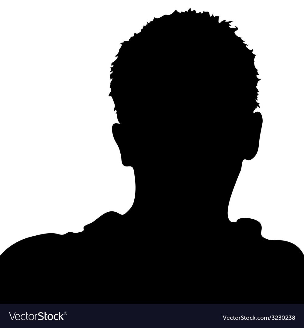 Man big black face silhouette on white vector | Price: 1 Credit (USD $1)