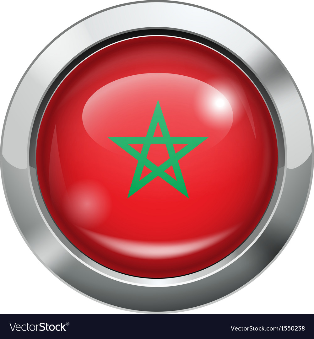 Morocco flag metal button vector | Price: 1 Credit (USD $1)