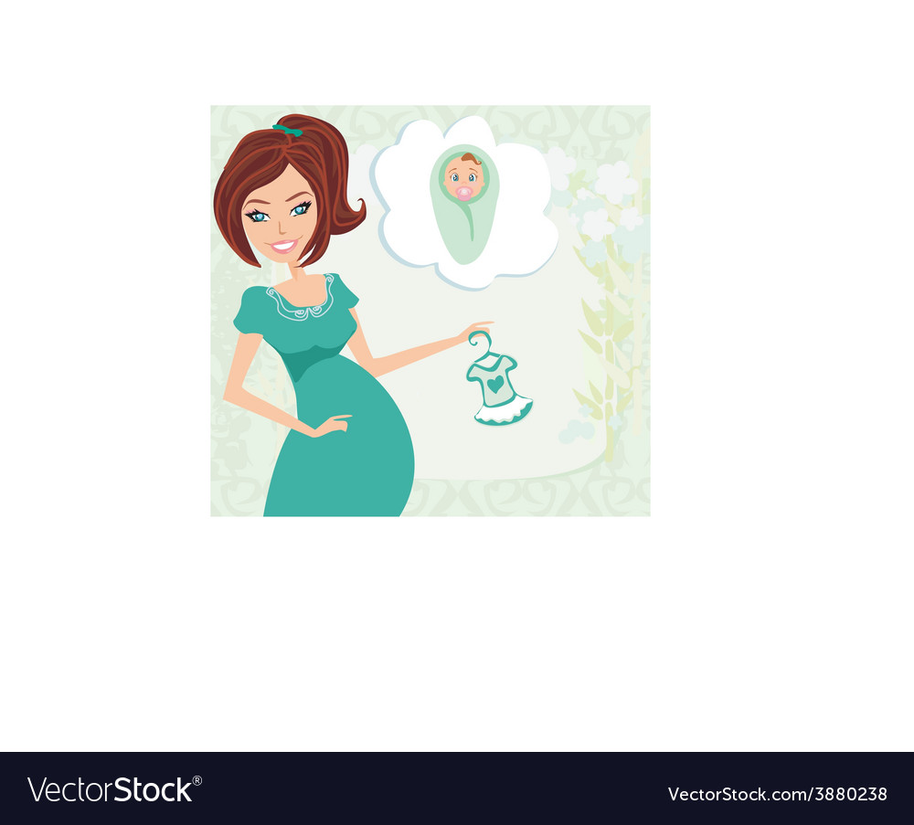 Pregnant woman it has a birth to a girl - baby vector | Price: 1 Credit (USD $1)