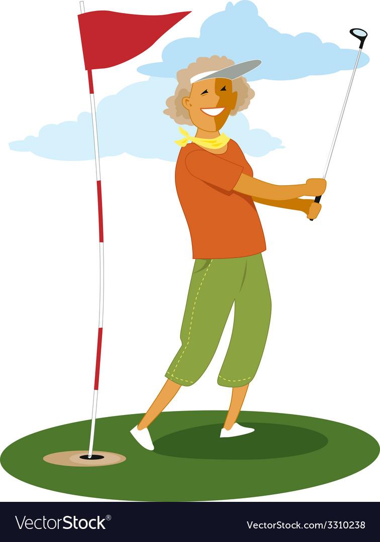 Senior female golfer vector | Price: 1 Credit (USD $1)