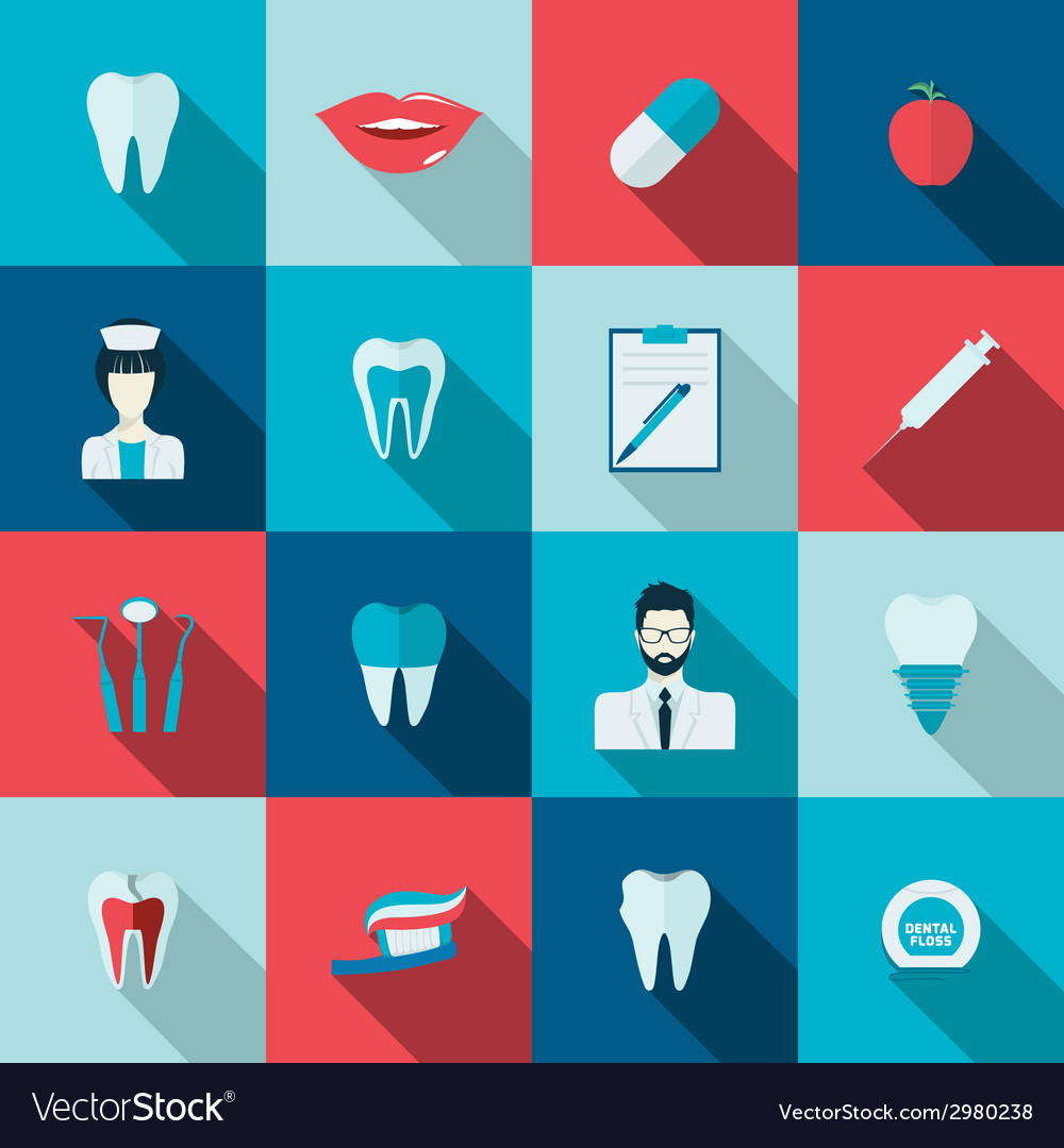 Teeth icons flat vector | Price: 1 Credit (USD $1)