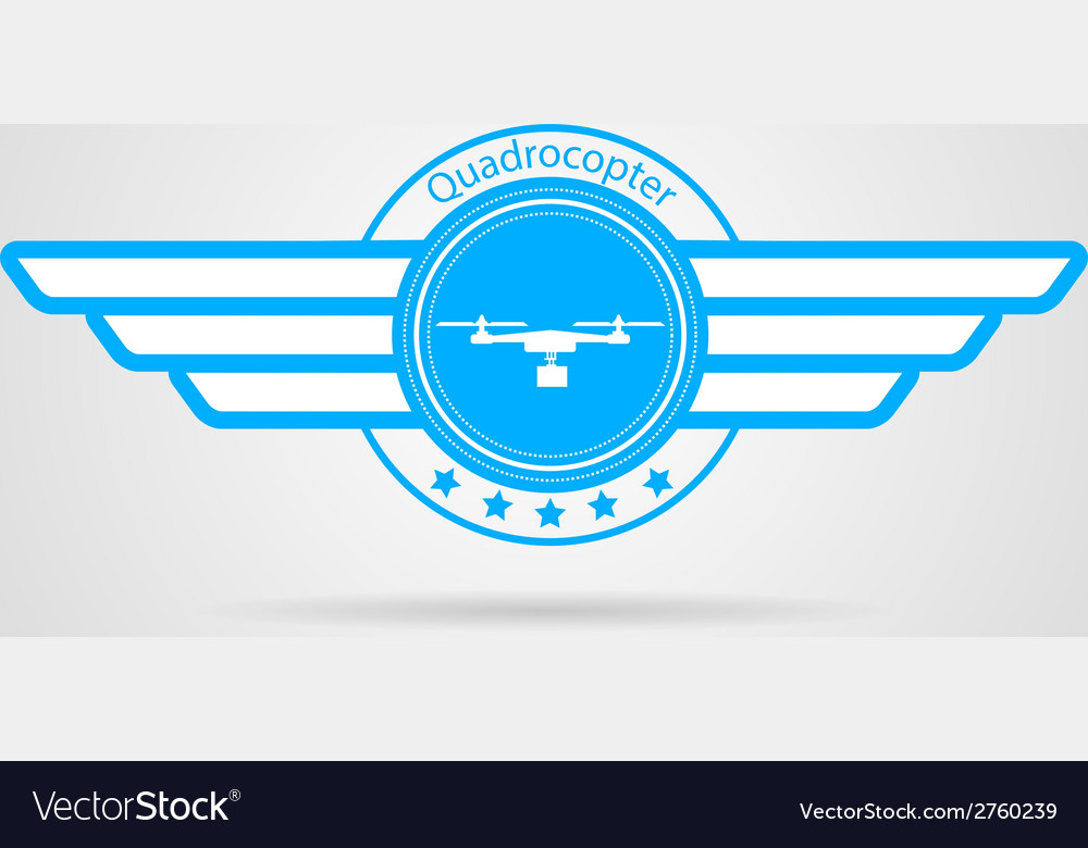 Blue sign of quadrocopter with wings vector | Price: 1 Credit (USD $1)