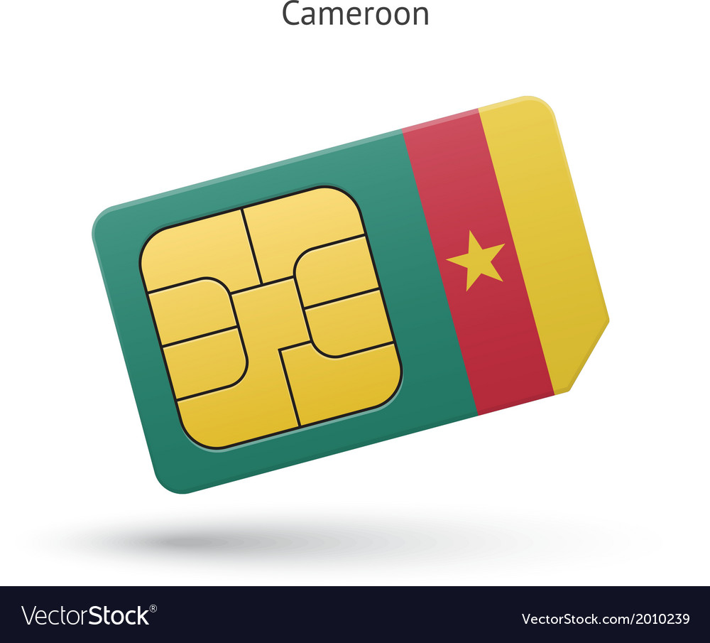 Cameroon mobile phone sim card with flag vector   Price: 1 Credit (USD $1)