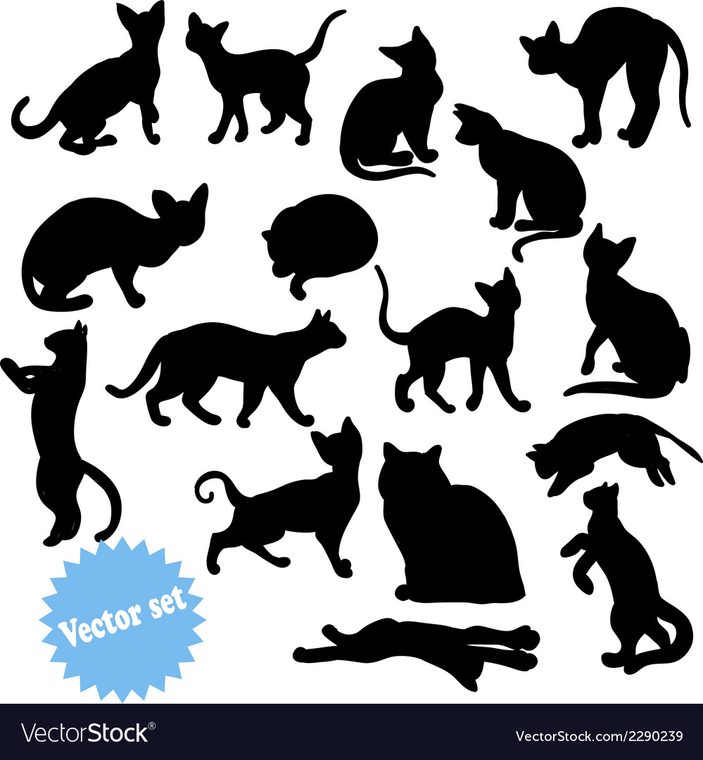 Cat silhouette set vector | Price: 1 Credit (USD $1)