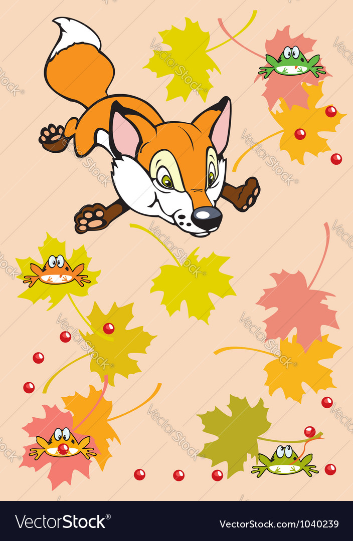Childish fox playing with leaves and frogs vector | Price: 1 Credit (USD $1)