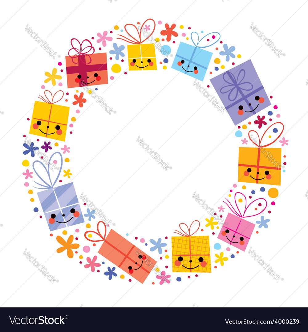Gifts present boxes holiday circle frame design vector | Price: 1 Credit (USD $1)