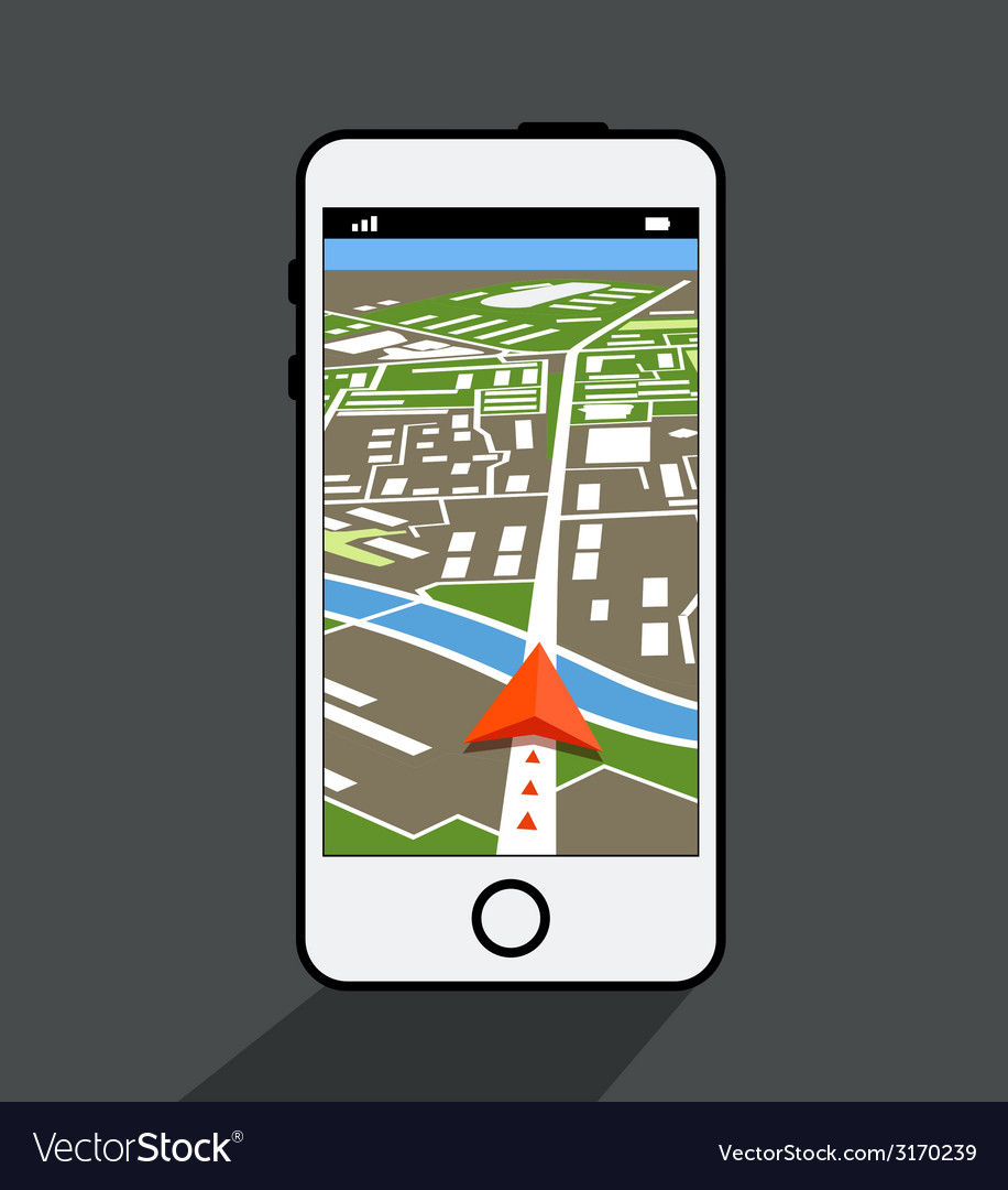 Modern smartphone with navigation application vector | Price: 1 Credit (USD $1)