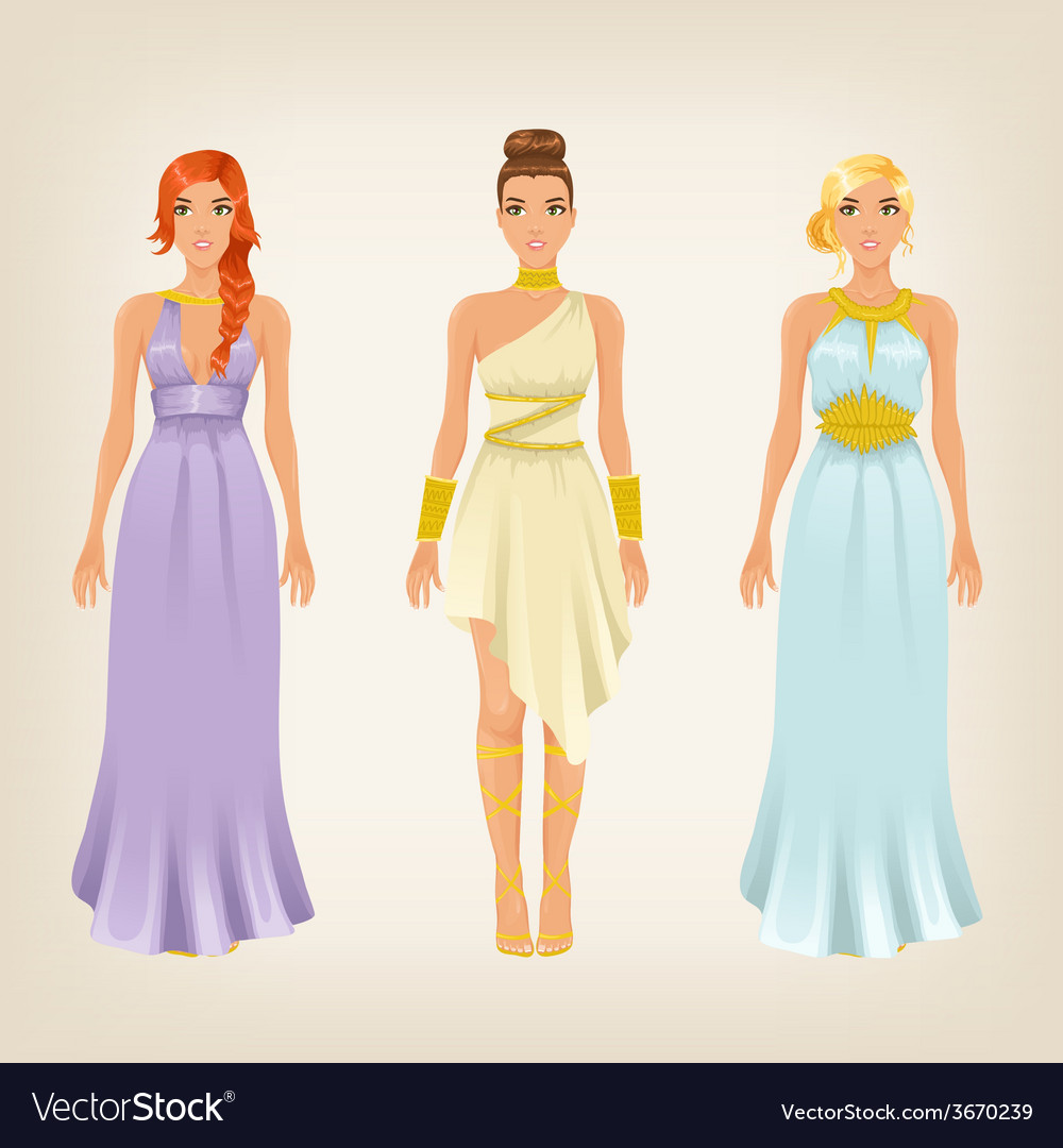 Pretty females in greek styled goddess dresses vector | Price: 1 Credit (USD $1)