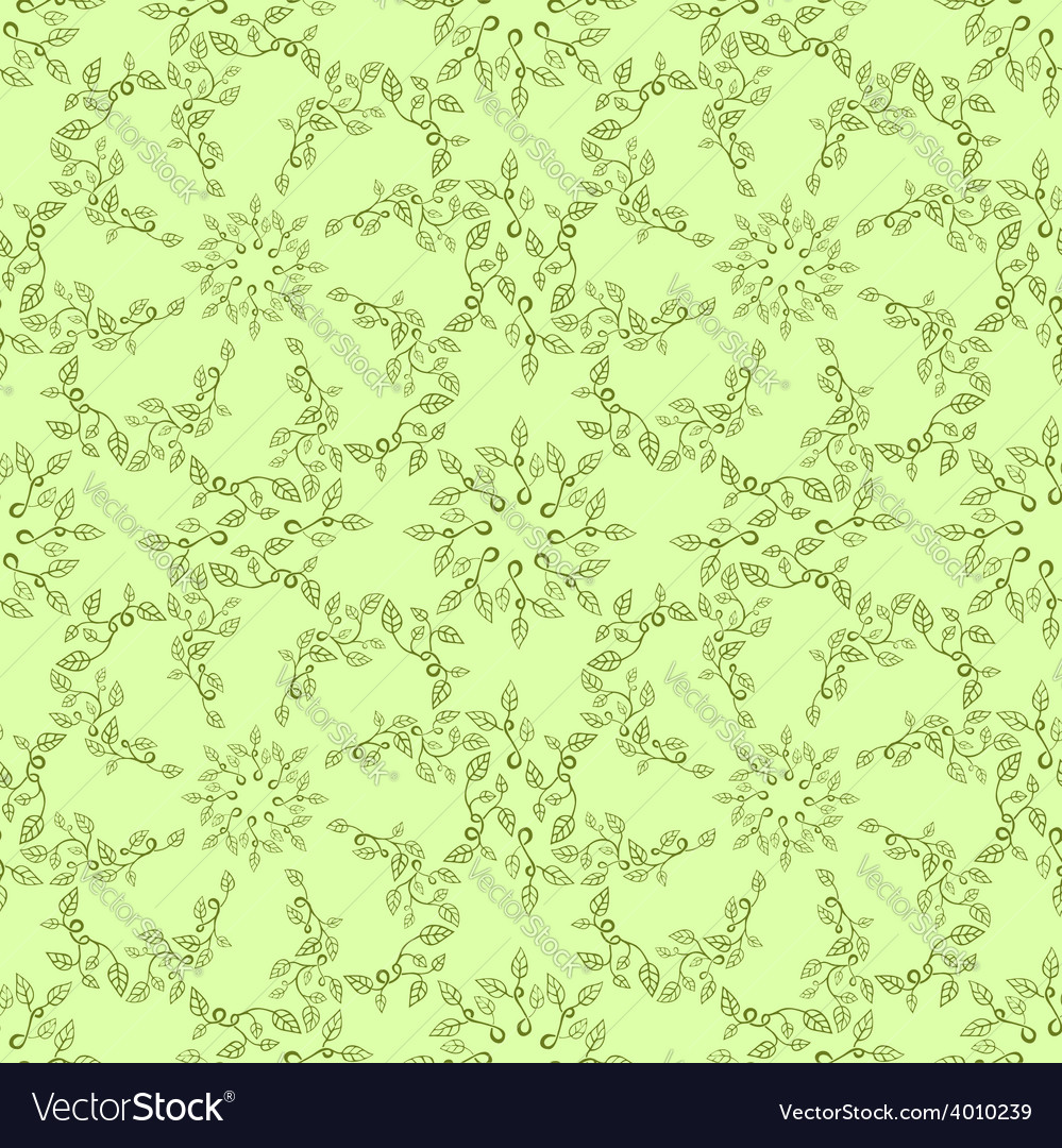 Seamless leaves pattern on green background vector | Price: 1 Credit (USD $1)