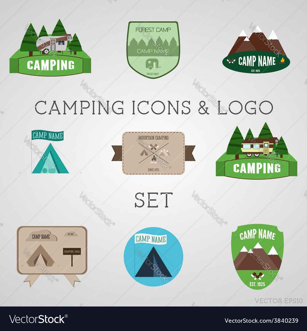 Set of outdoor adventure badges and campsite logo vector | Price: 1 Credit (USD $1)