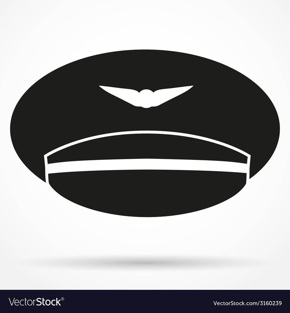 Silhouette symbol of pilot aviator peaked cap vector | Price: 1 Credit (USD $1)