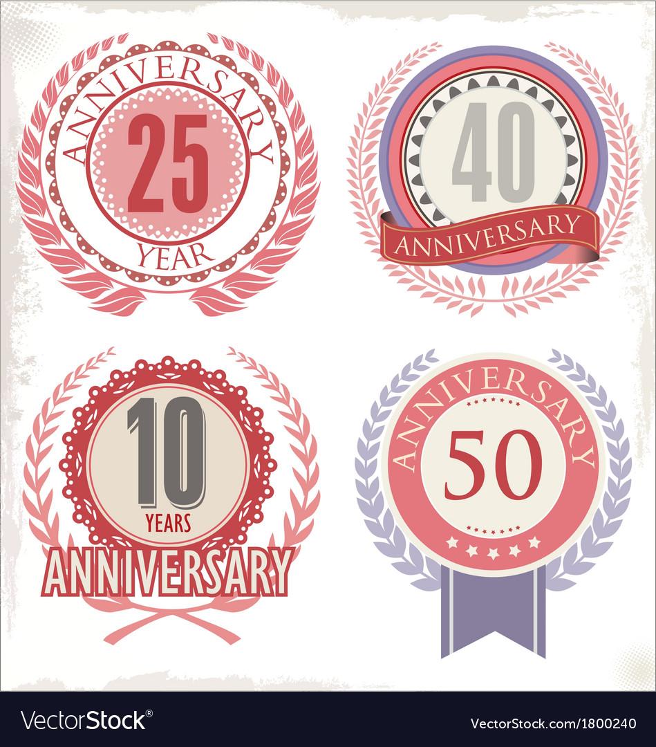 Anniversary retro labels vector | Price: 1 Credit (USD $1)