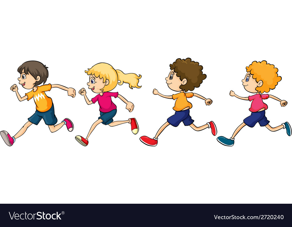 Boys and girl running vector | Price: 1 Credit (USD $1)