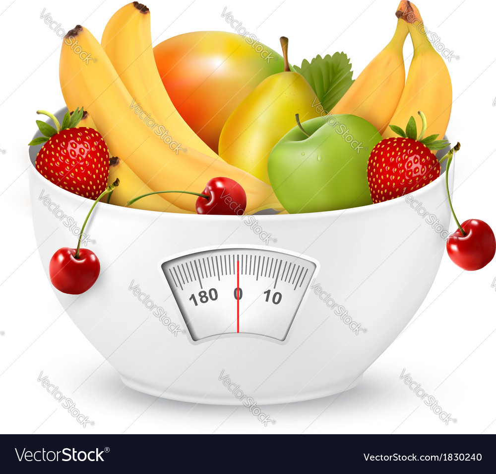 Fruit with in a weight scale diet concept vector   Price: 1 Credit (USD $1)