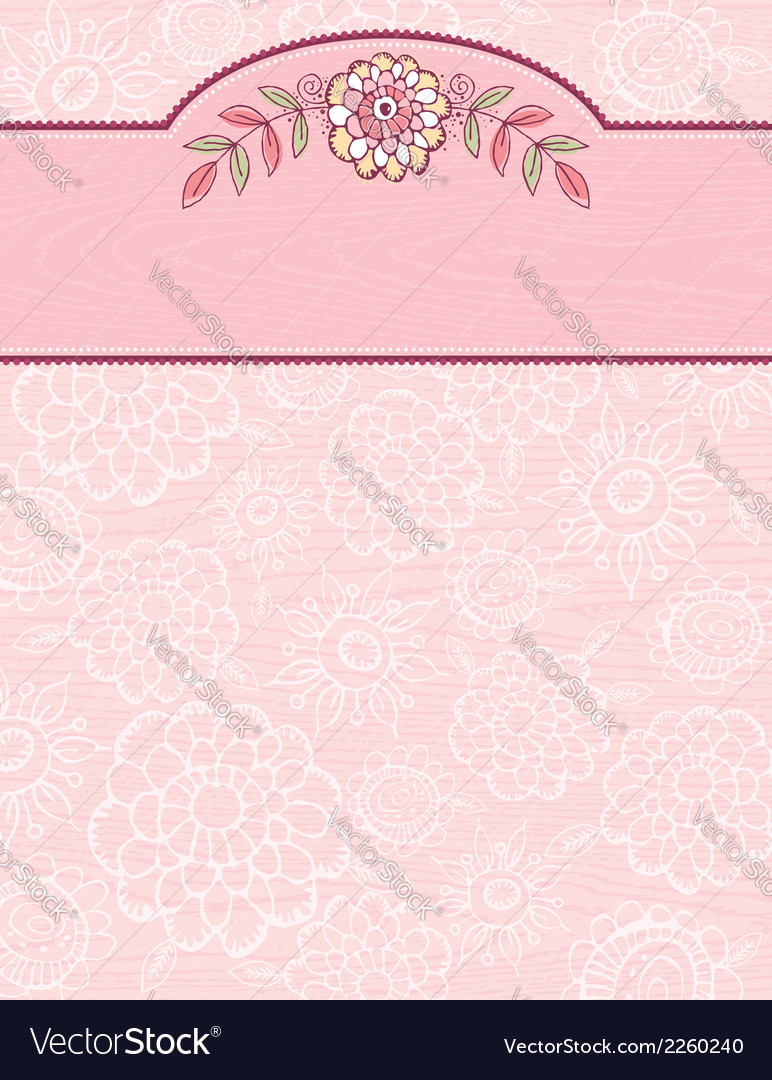 Hand draw flowers on grunge pink background vector | Price: 1 Credit (USD $1)