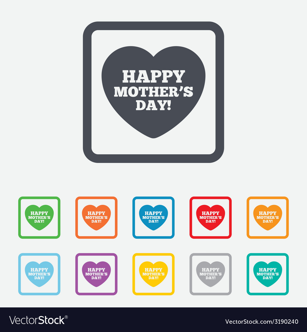 Happy motherss day sign icon mom symbol vector | Price: 1 Credit (USD $1)