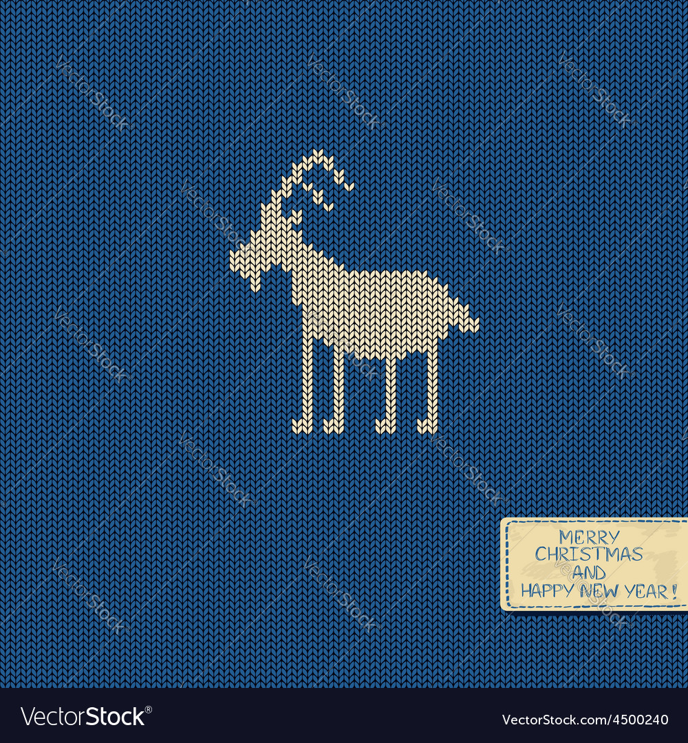 Knitted pattern card with funny goat vector | Price: 1 Credit (USD $1)