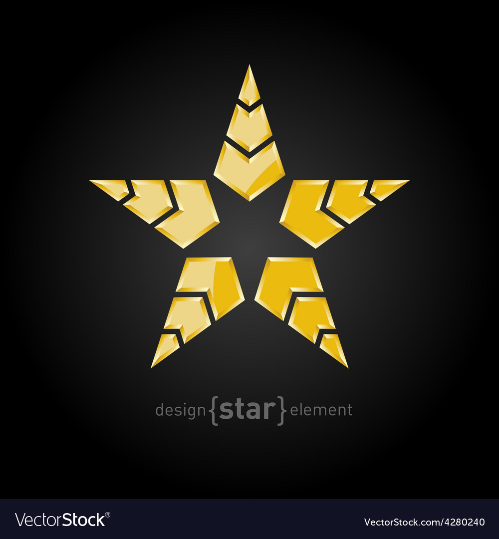Military golden star with arrows on black vector | Price: 1 Credit (USD $1)