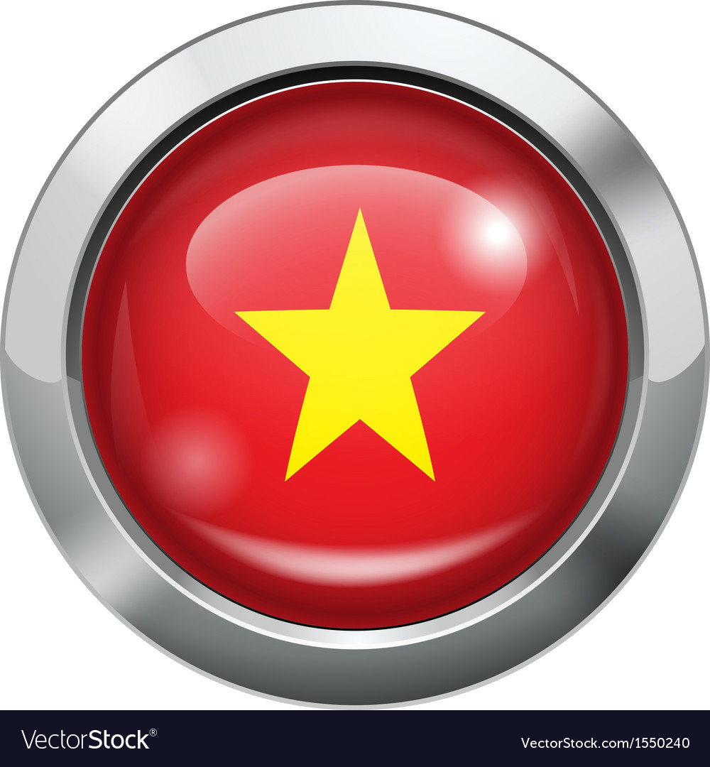 Vietnam flag metal button vector | Price: 1 Credit (USD $1)