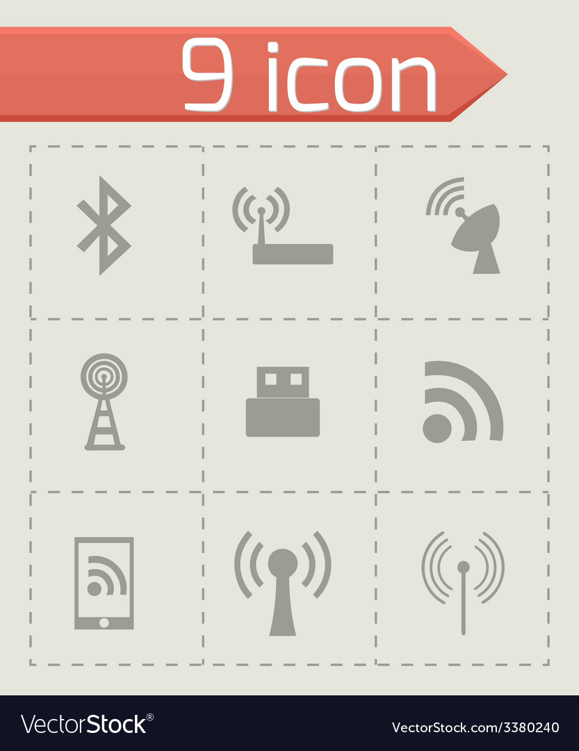 Wireless icon set vector | Price: 1 Credit (USD $1)