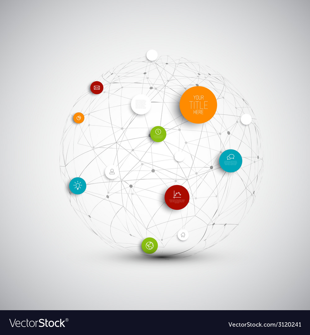 Abstract circles infographic network template vector | Price: 1 Credit (USD $1)