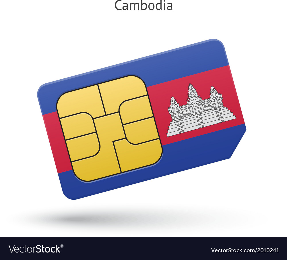 Cambodia mobile phone sim card with flag vector | Price: 1 Credit (USD $1)