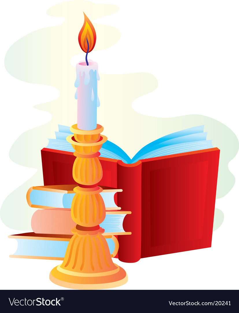 Candle with books vector | Price: 1 Credit (USD $1)