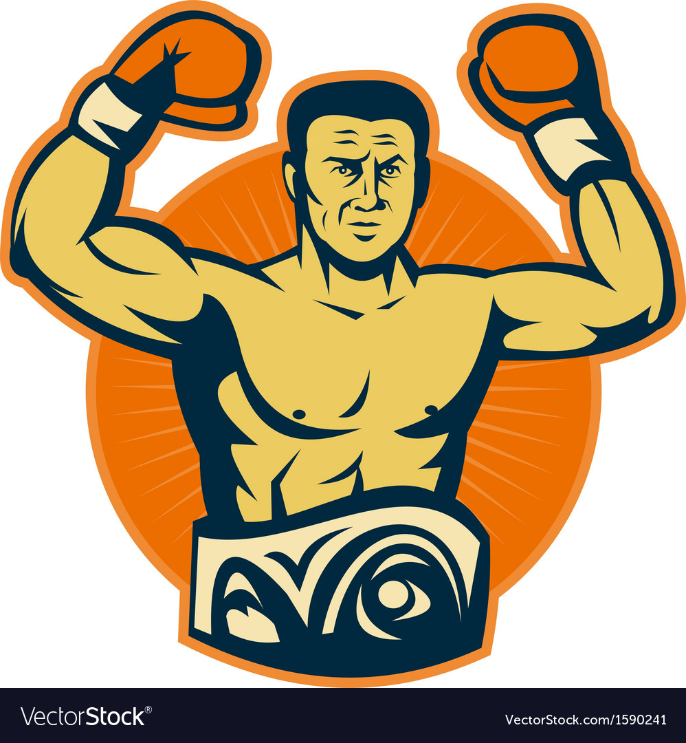 Champion boxer with championship belt vector | Price: 1 Credit (USD $1)