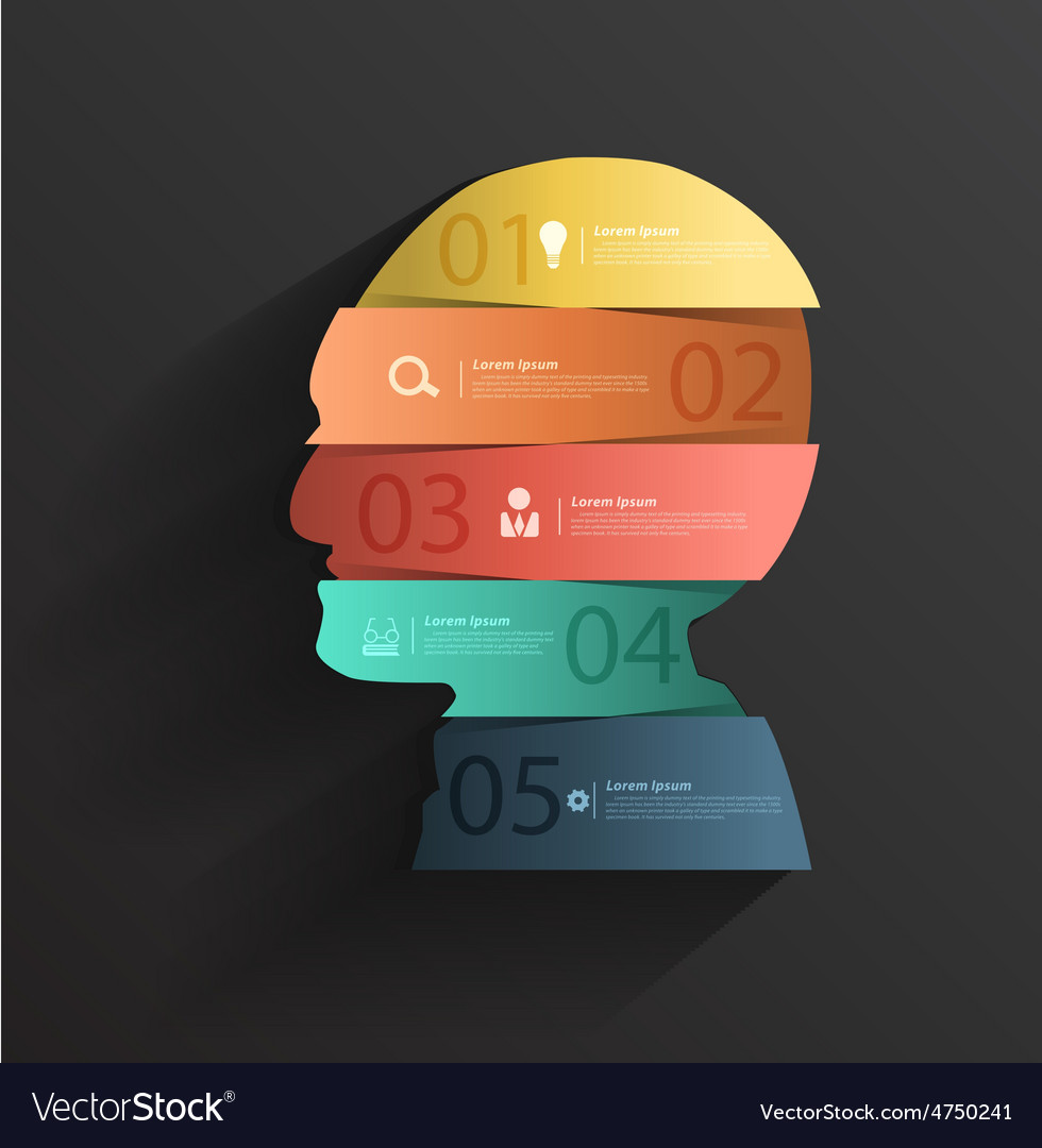 Creative head with number banners vector | Price: 3 Credit (USD $3)