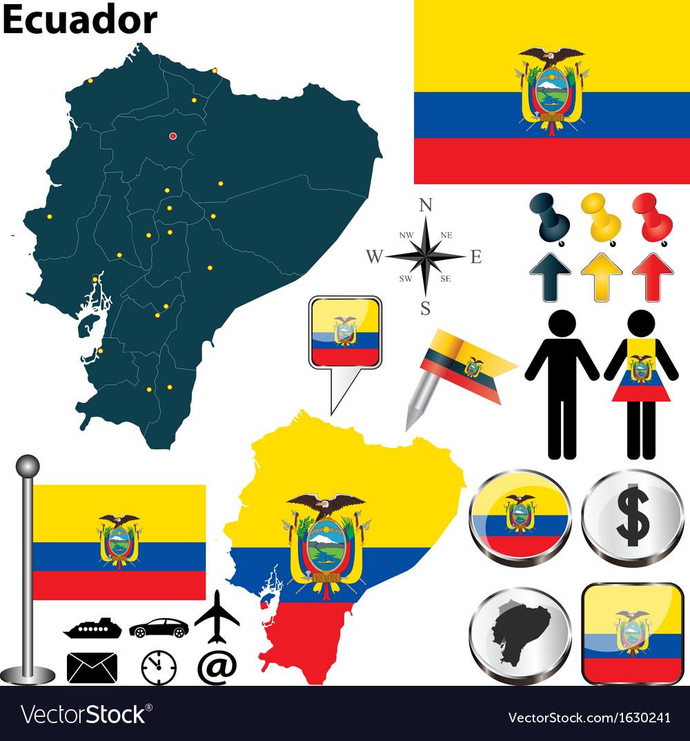 Ecuador map vector | Price: 1 Credit (USD $1)