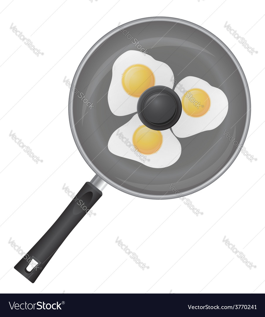 Fried eggs in a frying pan 02 vector | Price: 1 Credit (USD $1)