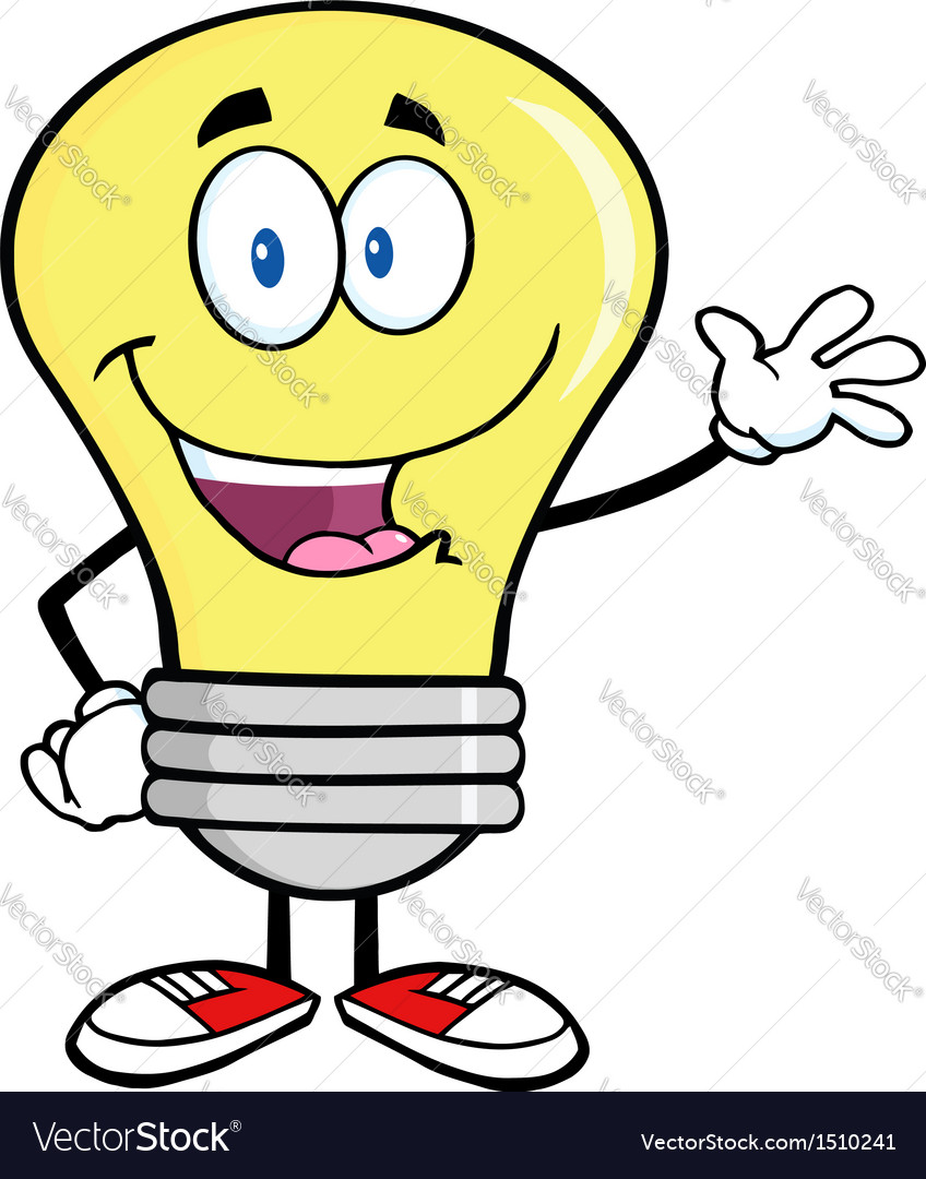 Friendly light bulb cartoon vector | Price: 1 Credit (USD $1)