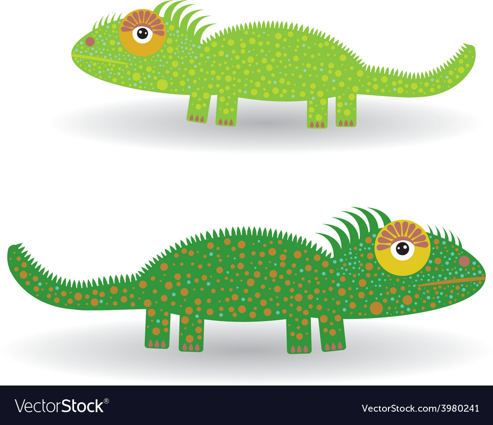 Funny green iguana on a white background vector | Price: 1 Credit (USD $1)
