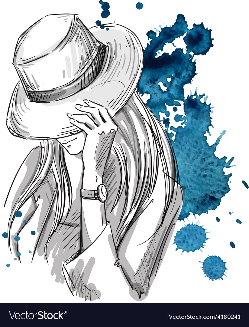 Girl in hat looking down vector | Price: 1 Credit (USD $1)
