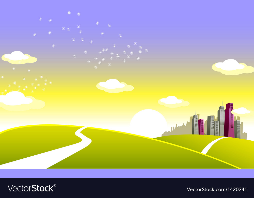 Green landscape and skyline vector | Price: 1 Credit (USD $1)