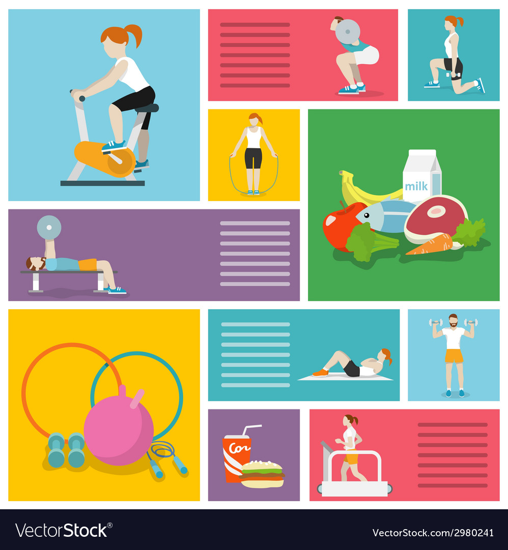 Gym exercises people vector | Price: 1 Credit (USD $1)