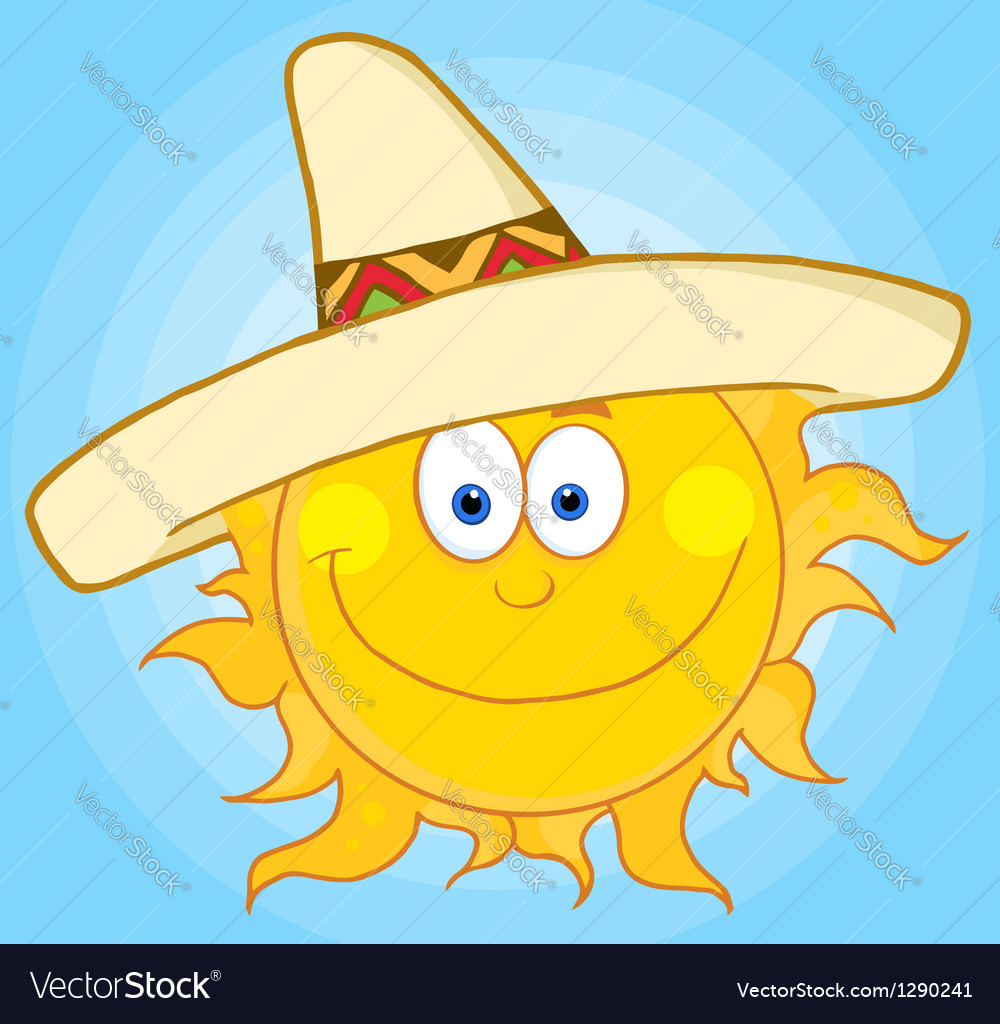 Happy sun with sombrero hat vector | Price: 1 Credit (USD $1)