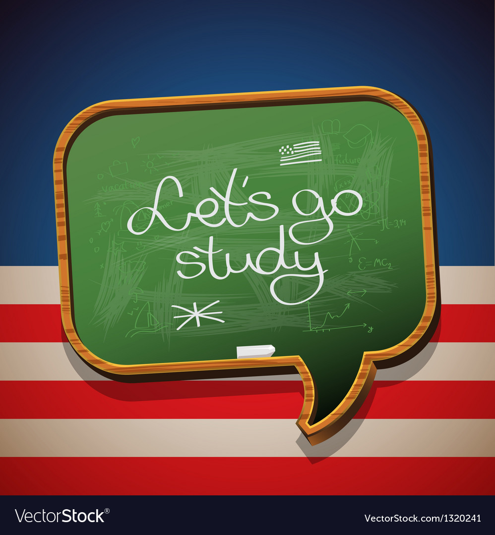 Lets go study - handwritten on blackboard vector | Price: 1 Credit (USD $1)