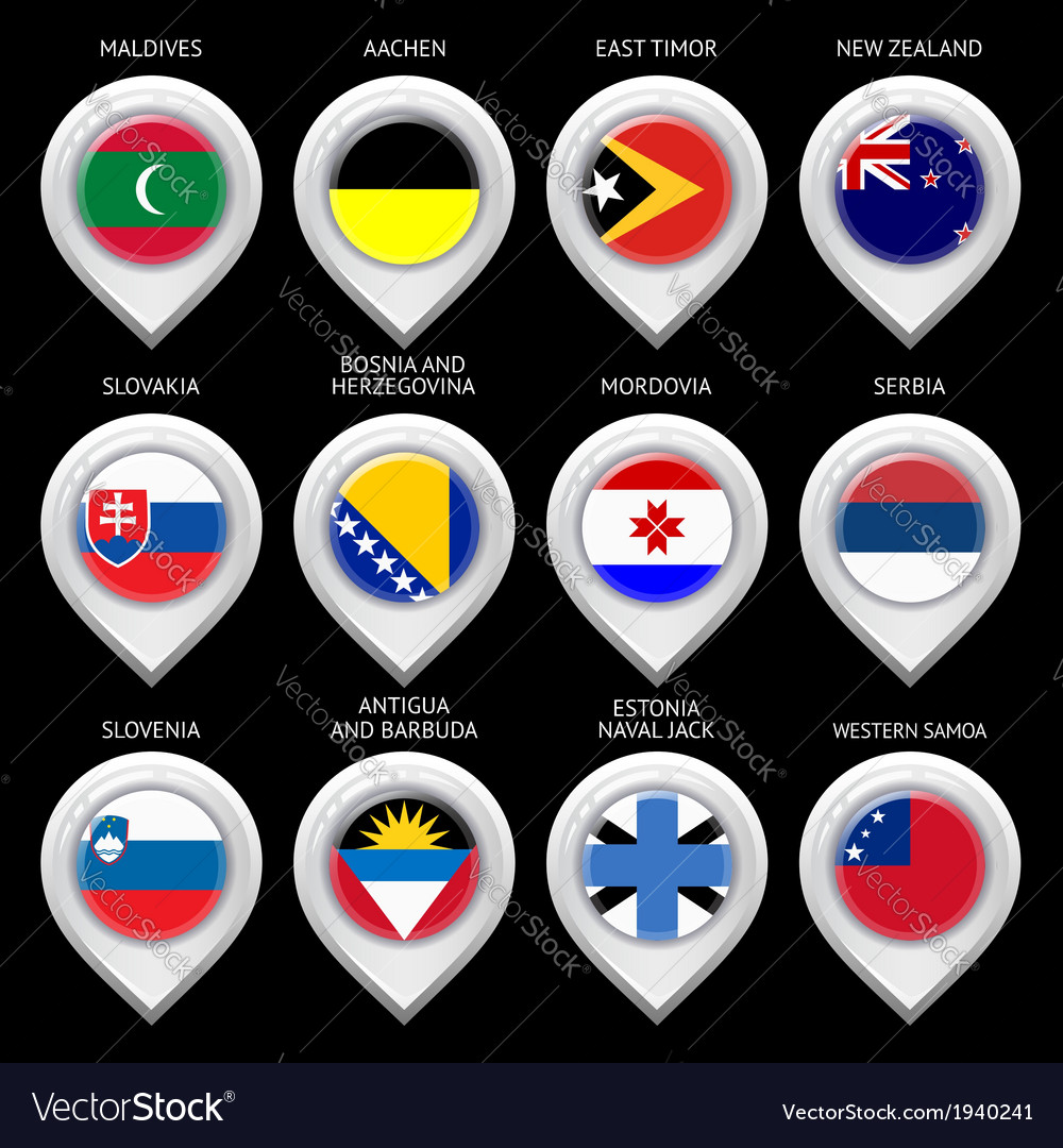 Map marker with flag-set twelfth vector | Price: 1 Credit (USD $1)