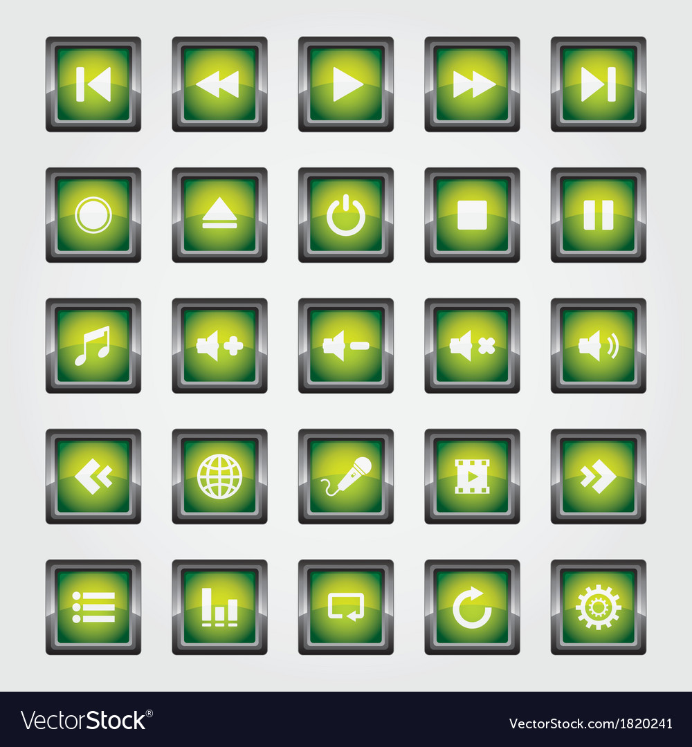 Media button green vector | Price: 1 Credit (USD $1)