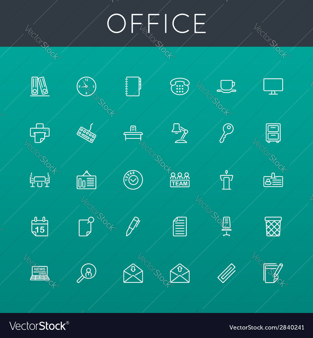 Office line icons vector | Price: 1 Credit (USD $1)