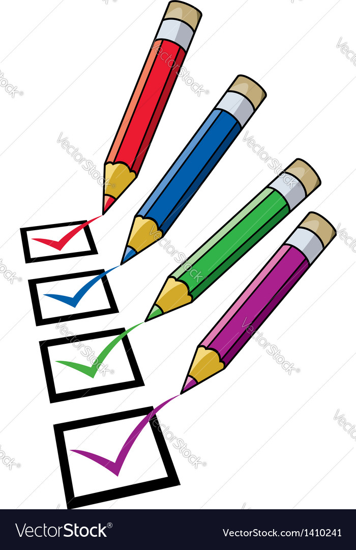 Pencils and checklist vector | Price: 1 Credit (USD $1)